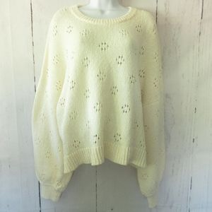 Madewell Floral Pointelle Sweater Plus Size Crop